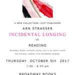 "Just Published: Arn Strasser ""Incidental Longing"" and READING"
